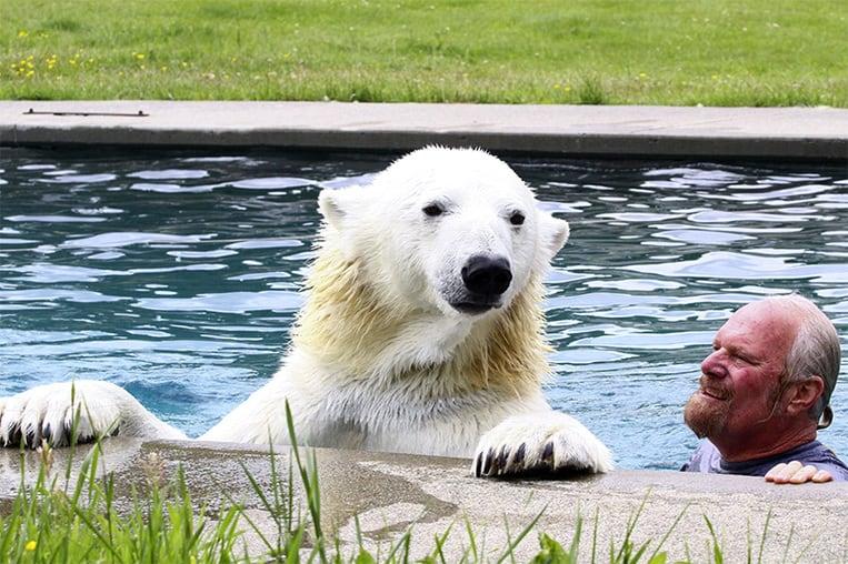 Les 2 compères prennent un bain dans la piscine familiale